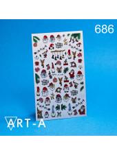 3D наклейки для дизайна ногтей 686