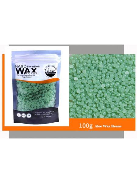 Воск для депиляции горячий (пленочный) Алоэ 100гр Hard Wax Beans