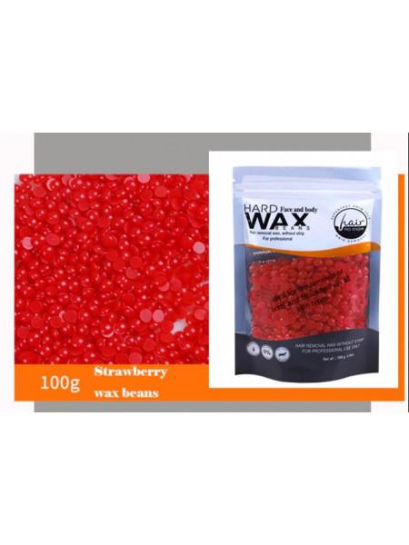 Воск для депиляции горячий (пленочный) Клубника 100гр Hard Wax Beans