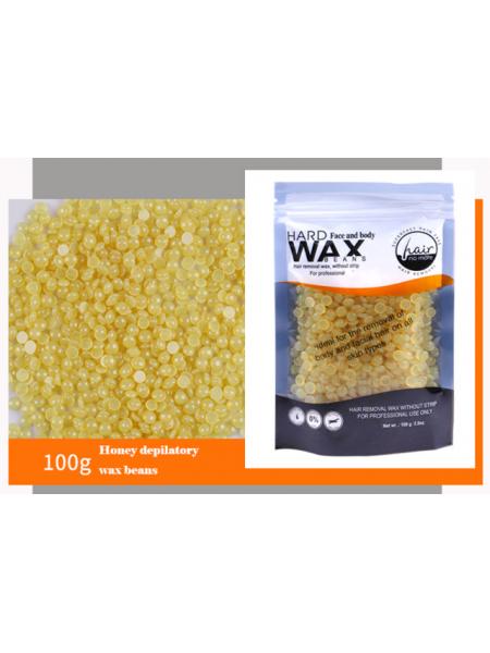 Воск для депиляции горячий (пленочный) Мед 100гр Hard Wax Beans
