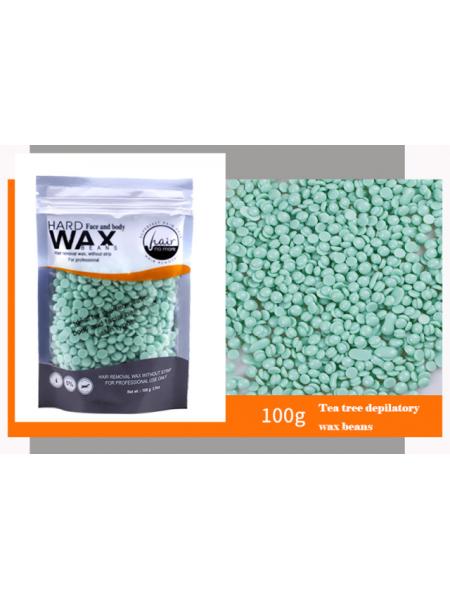 Воск для депиляции горячий (пленочный) Зеленый чай 100гр Hard Wax Beans