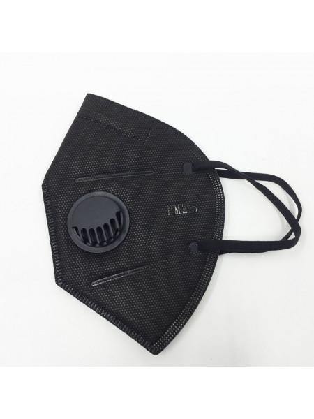 Маска на лицо с респиратором, с угольным фильтром, черная